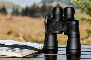 hunting binoculars on wooden table